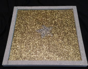 Gold Glitter Vanity/Cosmetic Tray Featuring Silver Star