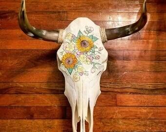 Real bull skull sunflower painting