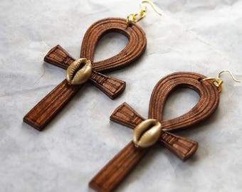 Large Wood Ankh Earrings With Cowrie Shell