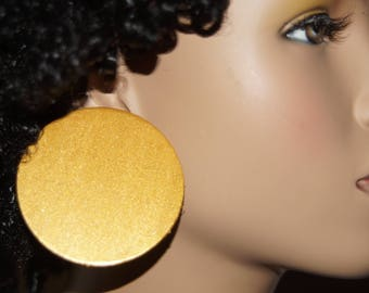 Large Stud Earrings - Gold 2.5 Inch