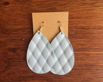 Baby blue quilted leather Earrings