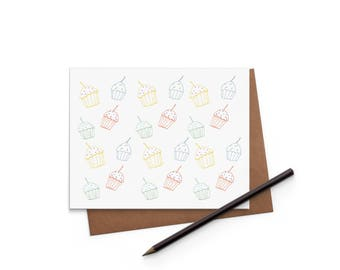 Birthday Card - Cupcakes - Greeting Card - Digitally Printed A2 Cards w/ envelope