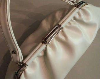 Excellent Vintage beige leather handbag
