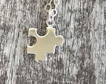 Sterling Silver Puzzle Piece Necklace / Dainty Puzzle Piece Necklace / Sterling Silver Necklace / Jigsaw Puzzle
