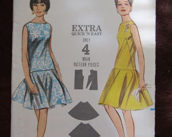 1960's Ladies BUTTERICK Pattern One-Piece DRESS Sleeveless/Semi-Fitted Size 10