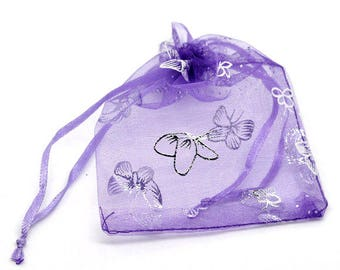 100 Butterfly Organza Bags - Dark Purple - Draw String Wedding Gift Bags & Pouches - 9x12cm - Ships IMMEDIATELY from California - BAG31-100