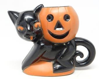 Vintage 1940's Halloween Candy Container, Rosbro Black Cat Holding a Jack-o-lantern