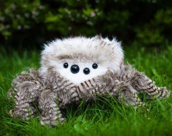 Esmeralda -  Jumping Spider, Soft Sculpture, Fiber Art, Art Toy, Plush, spider plush