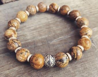 Yogi inspired meditation mala unisex picture jasper gemstone bead bracelet with silver accents for men or women