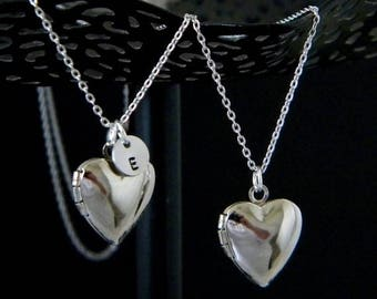 Silver Heart Initial Locket Necklace