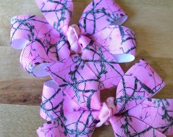 Set of Two Pink Camo Real Tree Mossy Oak Camo Hair Bows