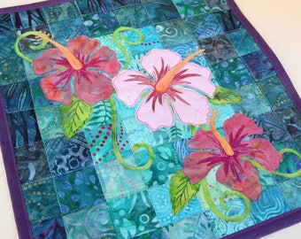 Batik Hibiscus Quilted Wall Hanging / Art Quilt, Pattern or Kit, by PingWynny