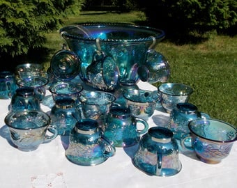 Amethyst BLUE Carnival Glass PUNCH BOWL set Harvest Grape & Leaf Pattern 20 Cups with Ladle