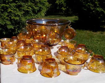 MARIGOLD Carnival Glass PUNCH BOWL and 23 Cups Indiana Glass Company Harvest Pattern Grape and Leaf