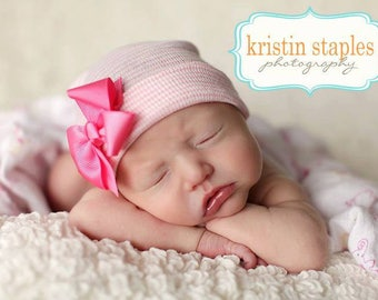 First Bow Newborn Hospital Hat (newborn girl hat, newborn beanie, newborn hospital hat with bow, first bow)