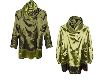 Green Jacket, Reversible, Large Buttons, Shawl Collar, Self-Hood, Vintage 1990s, Unstructured, Lime Green, Dark Green