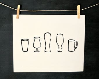 Beer Glasses - Original - Hand Printed