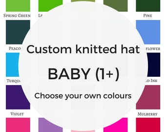 Custom BABY knitted hat, pure wool beanie hat, merino wool hat, soft wool hat, girl toddler, mommy and me, knit accessories, babies hat