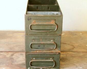 Vintage Industrial Metal Drawers Storage Olive Green DIY Repurpose Vintage Storage Display Decorating Prop