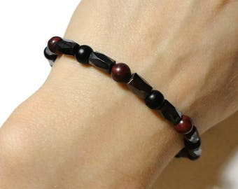 men's hematite bloodstone stretch energy bracelet unisex fits 7.75 inch wrist