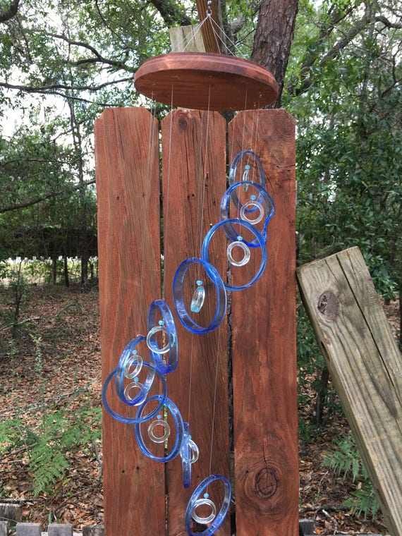 lt blue, clear GLASS WINDCHIMES from RECYCLED bottles, eco friendly, garden decor, wind chimes, mobiles, windchimes, soothing music