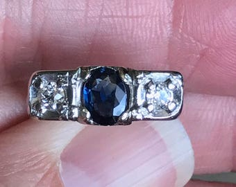 Natural Royal Blue Sapphire....Huge...76 points  with 34 points of  SI 1 G color European Cut  diamonds right hand ring   in 14KT white gold