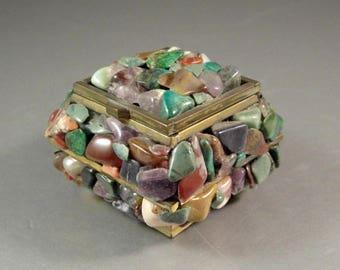 Stone Covered Brass Souvenir Trinket Ring Jewelry Stash Box / Taxco Mexico