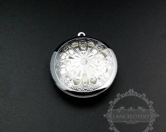 5pcs 33mm silver plated iron round filigree photo locket pendant charm DIY supplies 1112029