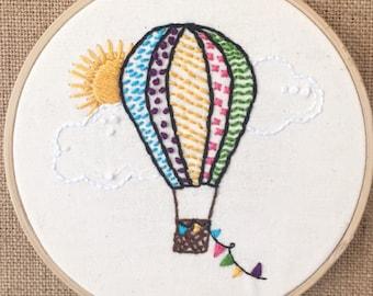 "Hot air balloon 4"" hand embroidery"