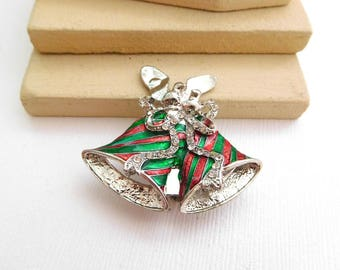 Retro Red Green Enamel Rhinestone Silver Christmas Bells Holiday Brooch Pin TT14