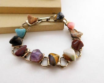 Vintage Multi-Color Gemstone Gold Tone Link Charm Bracelet J35