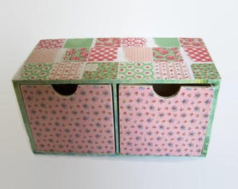 Decoupage Wooden Desktop Organiser - Desk Tidy - Storage Drawers - Shabby Chic Bedroom Storage - Jewellery Storage