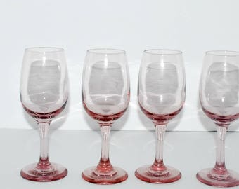 vintage pink wine glasses set of 4 pink blush stemware vintage barware