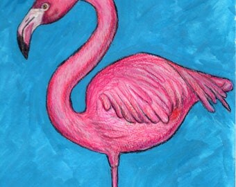 5x7 print pink flamingo