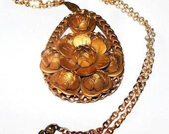"""Art Nouveau Pendant Chain Necklace Gold Rose Repousse Stations 23"""" Vintage"""