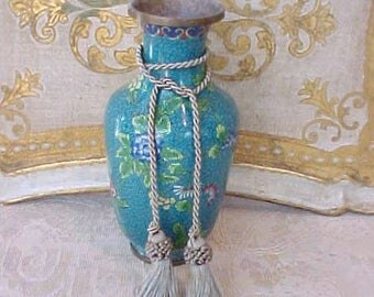 Handsome Antique Chinese Cloisonne Vase in Pretty Shade of Aqua