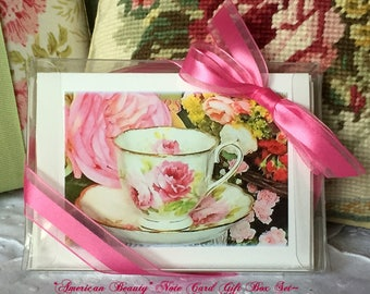 Note Card Gift Box Royal Albert American Beauty Teacup, Teaparty Invitations, Thank You Cards, Eight Cards, Gift Cards, Teacup Cards, Tea