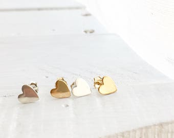 Heart Stud Earrings, Heart Studs, Dainty Little Heart Stud Earrings, Available in Rose Gold Filled, 14K Gold Filled and Sterling Silver