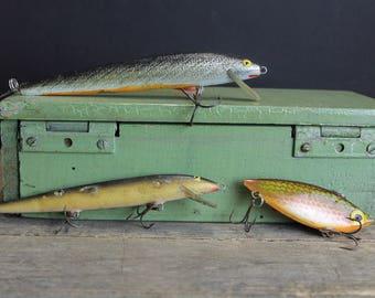 Vintage Wood Fishing Lures . Retro Fishing Tackle // Rebel Rapala