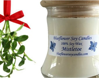 Scented Soy Candle Mistletoe Hand-Poured 12 oz Jar With Wood Lid