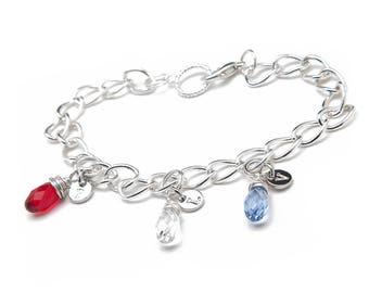 Charm Bracelet - Initial Birthstone Bracelet - Birthstone Bracelet for Mom - Birthstone Bracelet for Grandma - Sterling Silver Bracelet