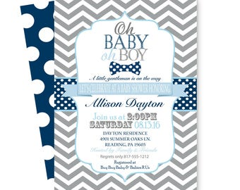 Bow Tie Baby Shower Invitation Boys - Dapper - Grey Chevron - Navy Polka-Dot - Little Man Sprinkle - Coed Party Printable & Printed Invite