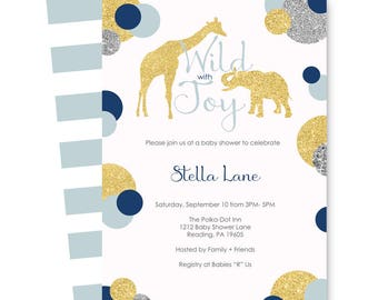 Polished Jungle Baby Shower Invitation for Boys  Blue and Gold - Mod Elephant Sprinkle - Coed - Custom Invites - Party Printable or Printing