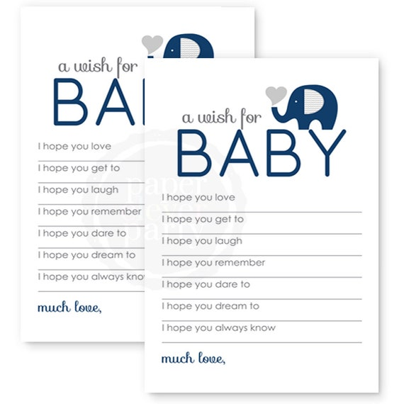Navy Elephant Wishes For Baby Shower Game Newborn Advice Mom