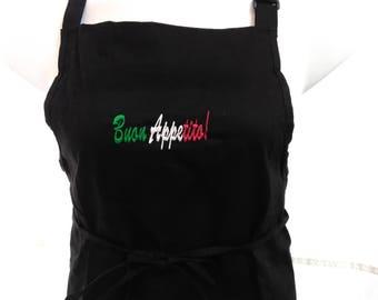 Buon Appetito!  Embroidered Italian Apron BLACK - 100% Cotton