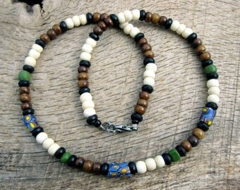 Mens tribal necklace, African glass trade beads, bone and coconut shell beads, surfer style, handmade from natural materials, one of a kind
