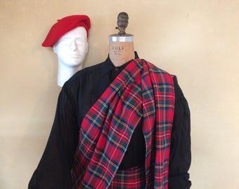 Wool Scottish Tartan Plaid Kilt Skirt Accordion Pleated Wraparound Red Checkered Skirt Checkered Shoulder Sash Red Beret