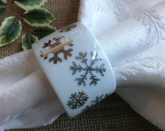 Dansk Snowflake Napkin Rings Porcelain Napkin rings with Gold and Silver Snowflakes