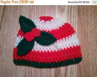 SUMMER SALE Baby Candy Cane & Holly Hat - Crochet Newborn Beanie Boy Girl Costume Winter Christmas  Photo Prop Cap Outfit