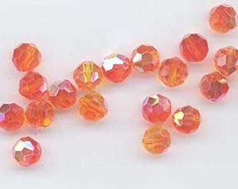 24 sparkling Swarovski crystals - art 5000 - 6 mm - fire opal AB